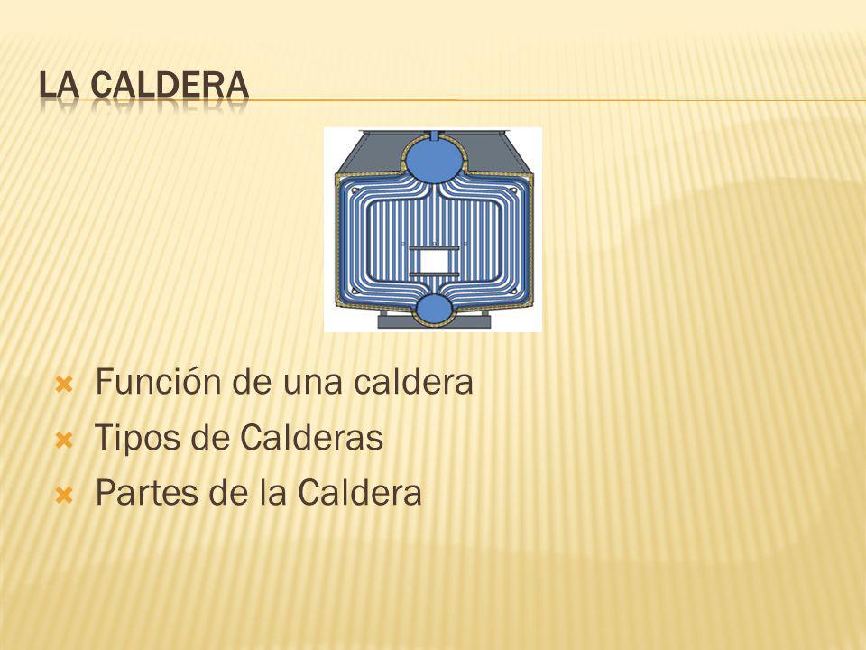 LA CALDERA Función de una caldera Tipos de Calderas Partes de la Caldera