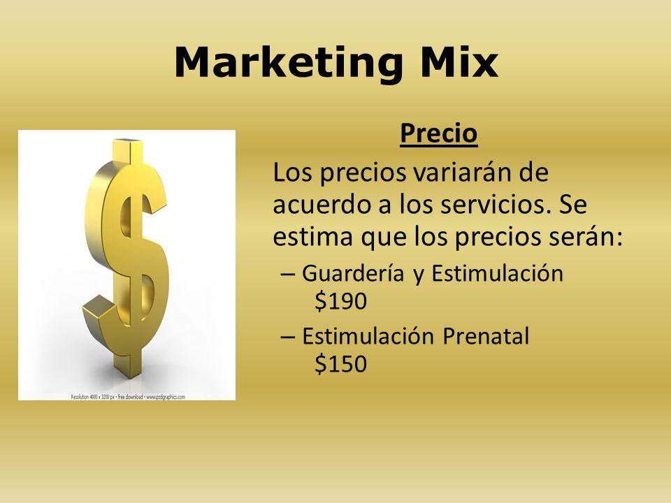 Marketing Mix Precio. Los precios variarán de acuerdo a los servicios. Se estima que los precios serán: