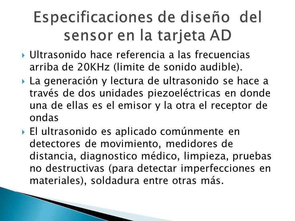 Especificaciones de diseño del sensor en la tarjeta AD