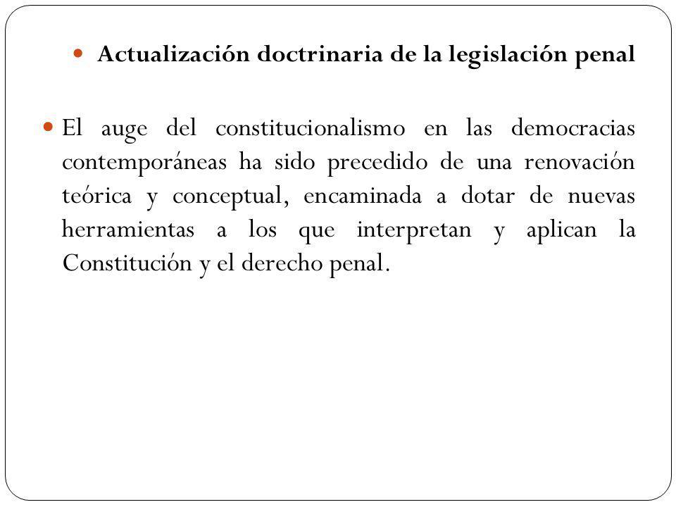 Actualización doctrinaria de la legislación penal