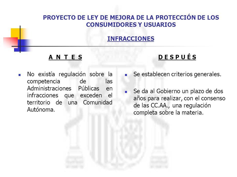 PROYECTO DE LEY DE MEJORA DE LA PROTECCIÓN DE LOS CONSUMIDORES Y USUARIOS INFRACCIONES