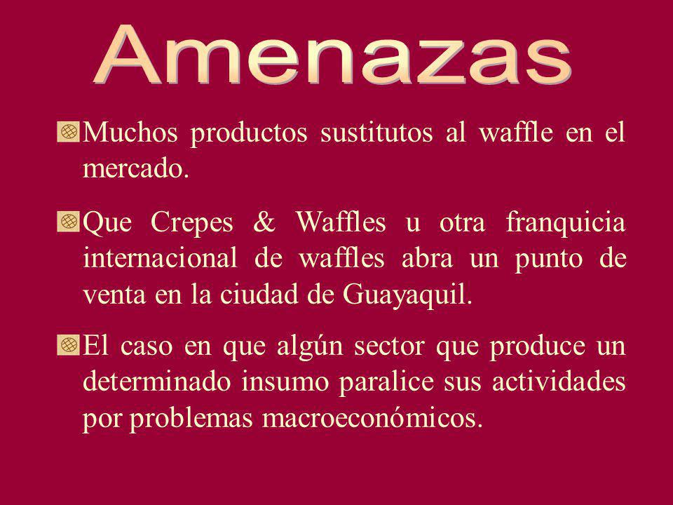 Amenazas Muchos productos sustitutos al waffle en el mercado.