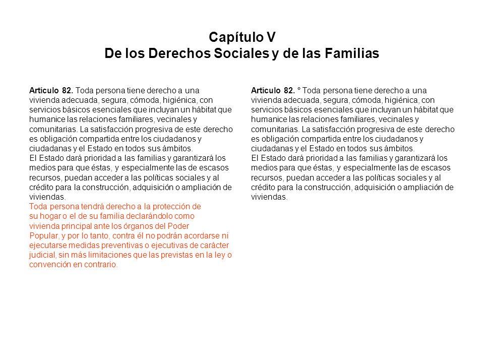 Capítulo V De los Derechos Sociales y de las Familias
