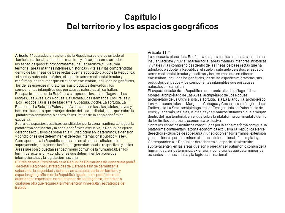 Capítulo I Del territorio y los espacios geográficos