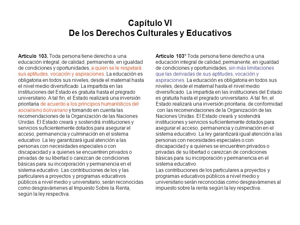 Capítulo VI De los Derechos Culturales y Educativos