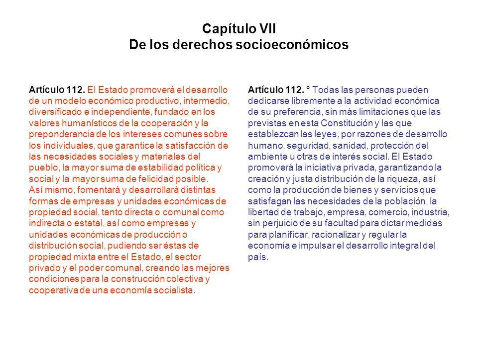 Capítulo VII De los derechos socioeconómicos