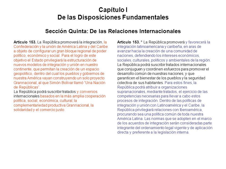 Capítulo I De las Disposiciones Fundamentales Sección Quinta: De las Relaciones Internacionales
