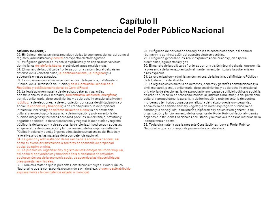 Capítulo II De la Competencia del Poder Público Nacional