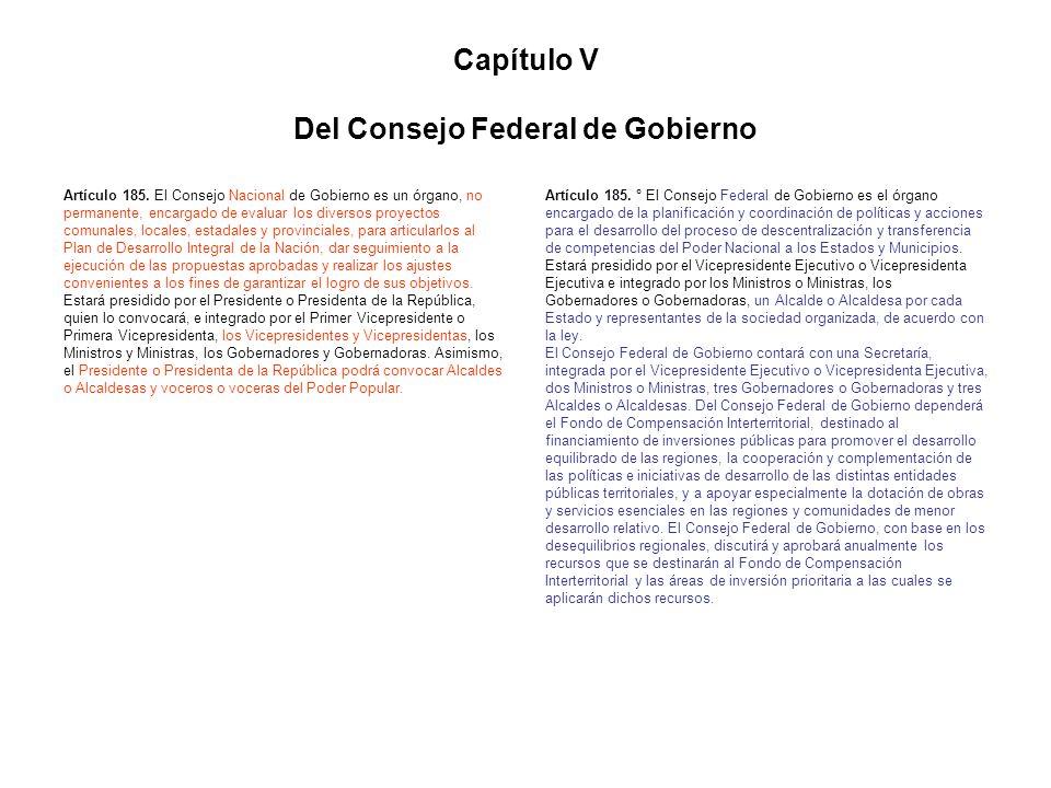 Capítulo V Del Consejo Federal de Gobierno