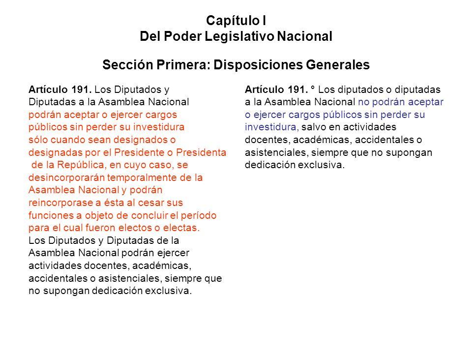 Capítulo I Del Poder Legislativo Nacional Sección Primera: Disposiciones Generales