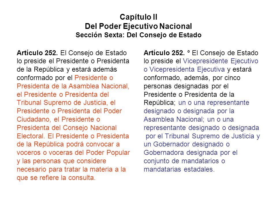 Capítulo II Del Poder Ejecutivo Nacional Sección Sexta: Del Consejo de Estado