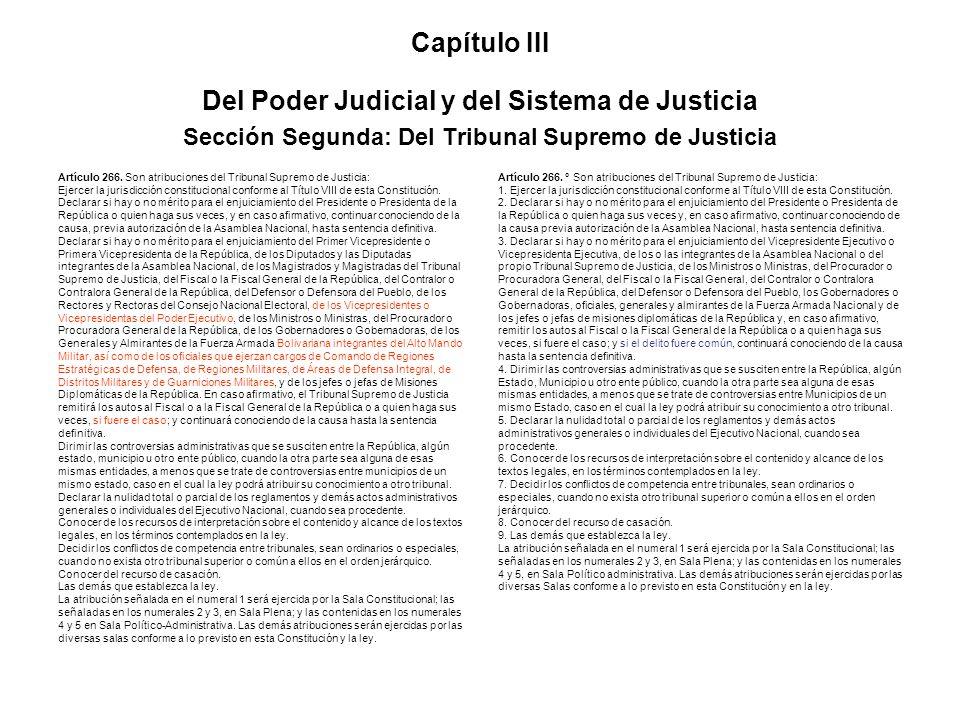 Capítulo III Del Poder Judicial y del Sistema de Justicia Sección Segunda: Del Tribunal Supremo de Justicia