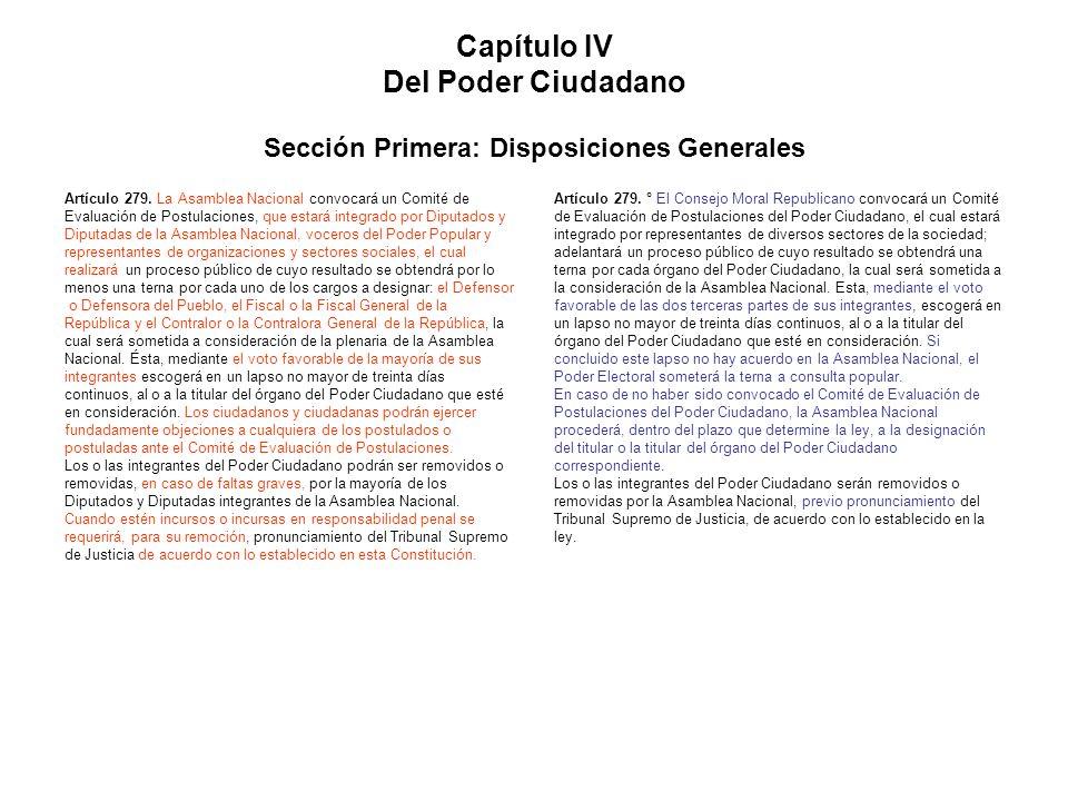 Capítulo IV Del Poder Ciudadano Sección Primera: Disposiciones Generales