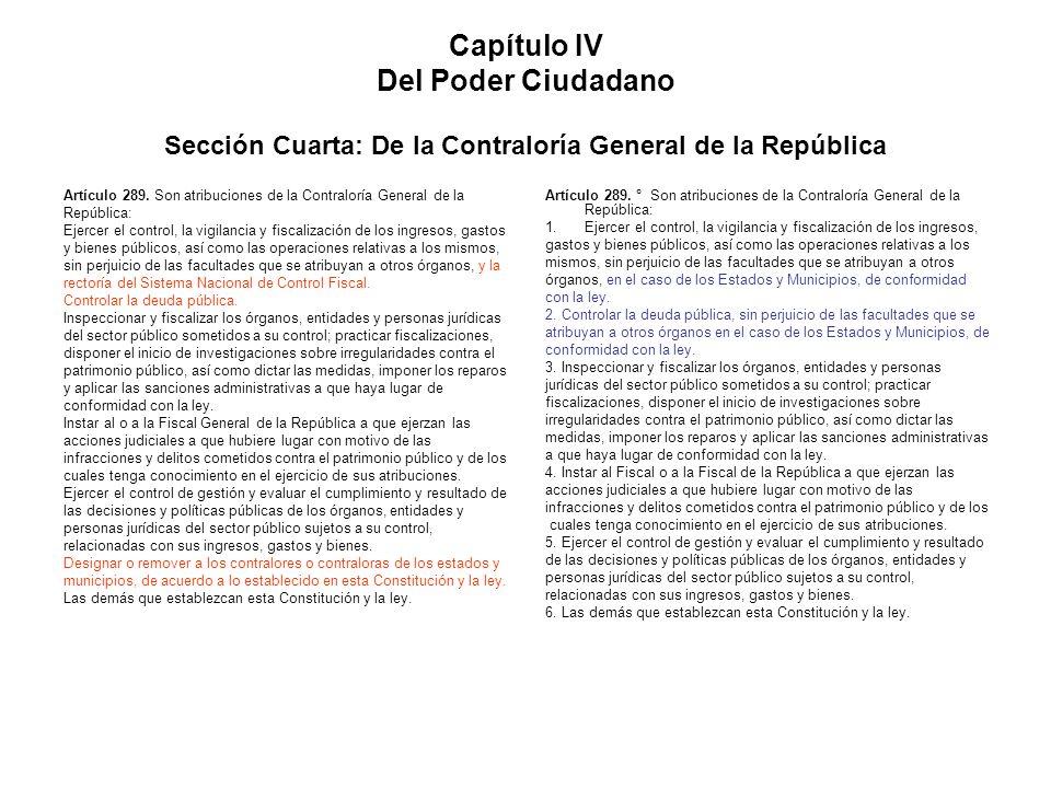 Capítulo IV Del Poder Ciudadano Sección Cuarta: De la Contraloría General de la República
