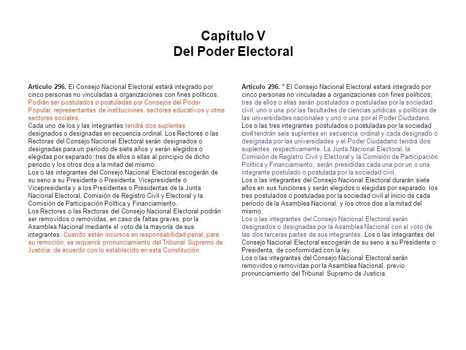 Capítulo V Del Poder Electoral