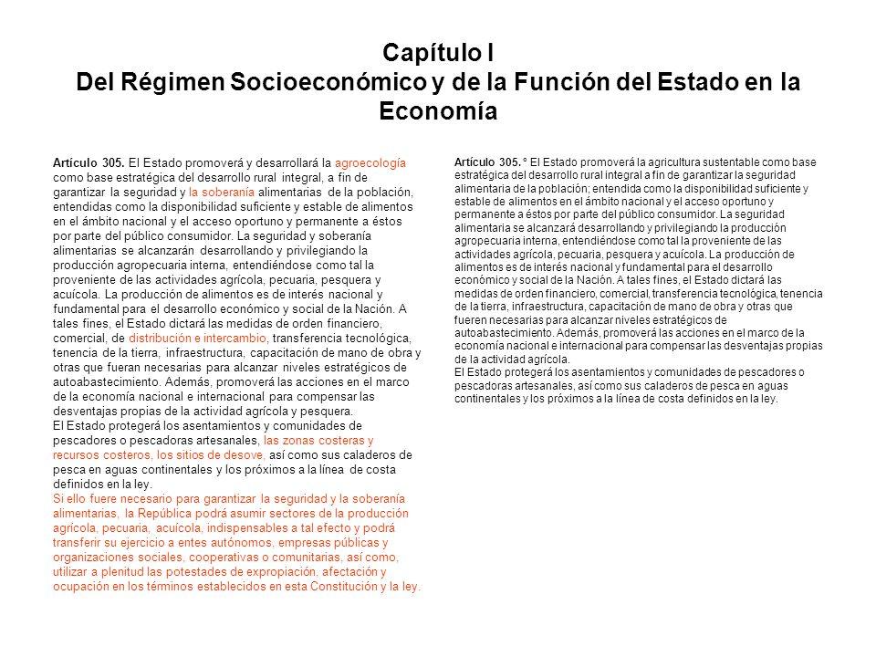 Capítulo I Del Régimen Socioeconómico y de la Función del Estado en la Economía