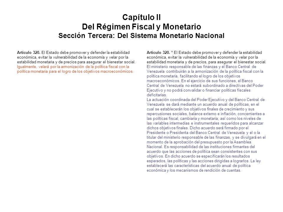 Capítulo II Del Régimen Fiscal y Monetario Sección Tercera: Del Sistema Monetario Nacional