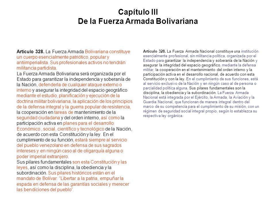 Capítulo III De la Fuerza Armada Bolivariana