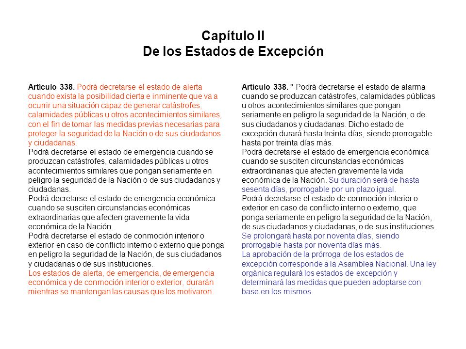 Capítulo II De los Estados de Excepción
