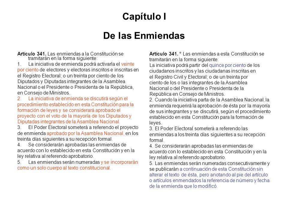 Capítulo I De las Enmiendas