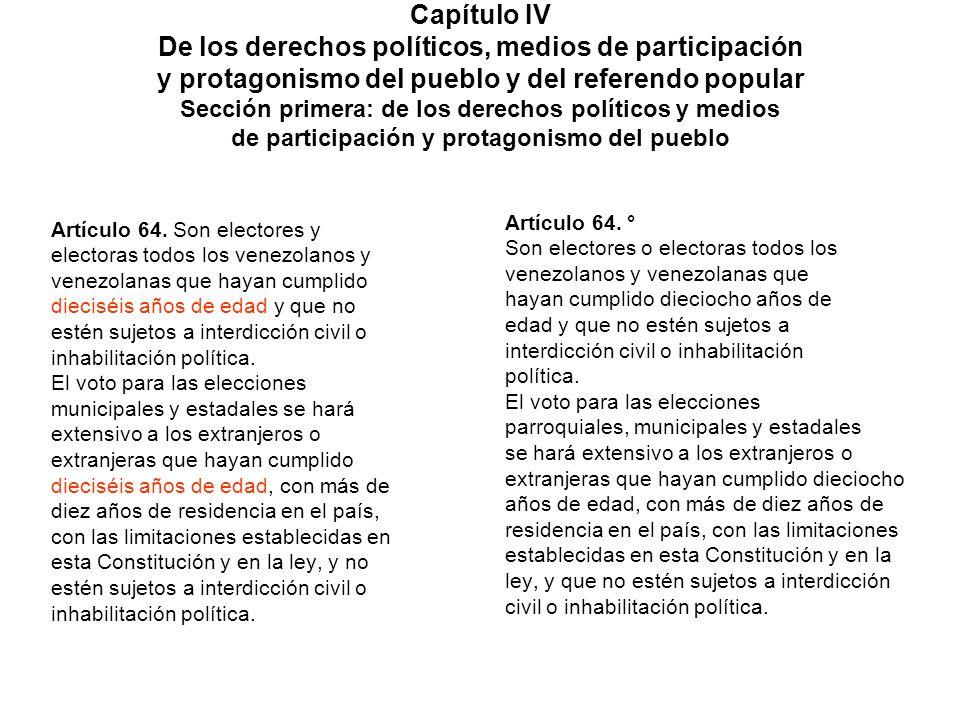 Capítulo IV De los derechos políticos, medios de participación y protagonismo del pueblo y del referendo popular Sección primera: de los derechos políticos y medios de participación y protagonismo del pueblo