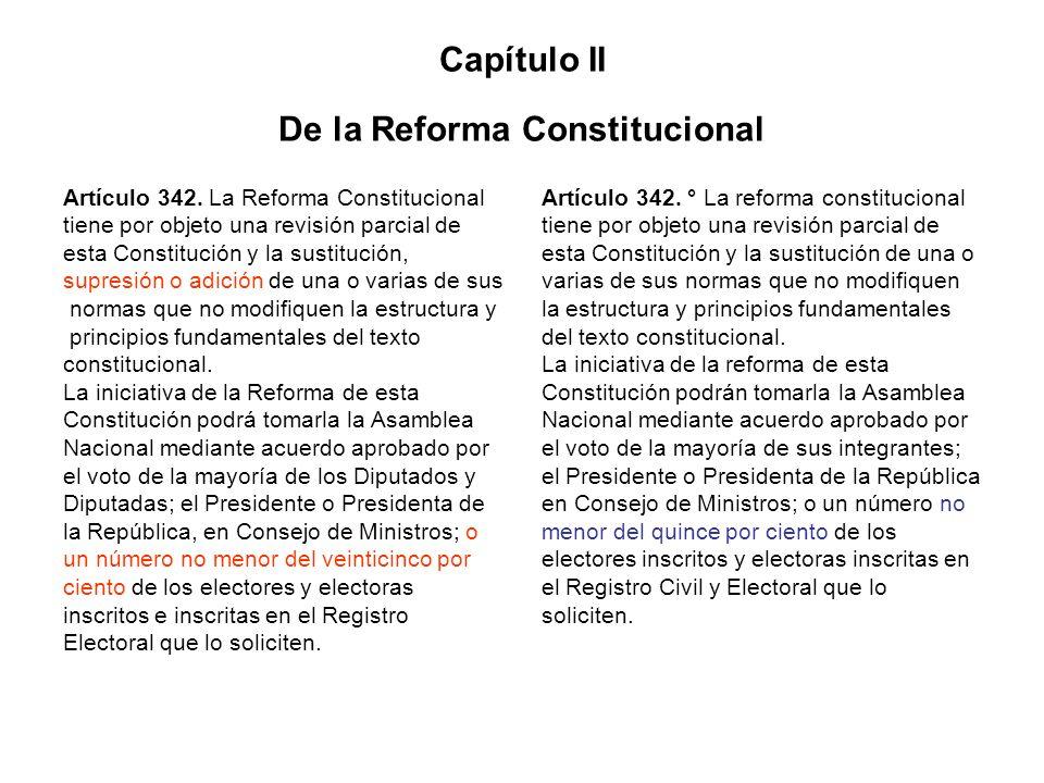Capítulo II De la Reforma Constitucional