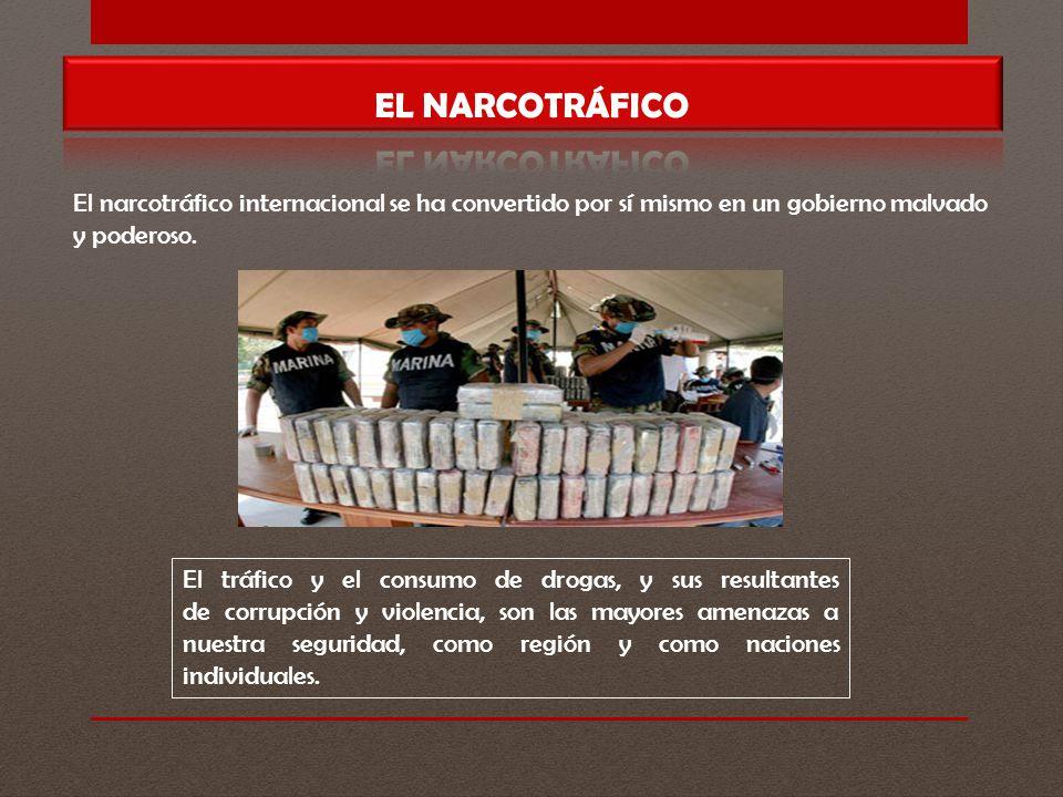 EL NARCOTRÁFICO El narcotráfico internacional se ha convertido por sí mismo en un gobierno malvado y poderoso.