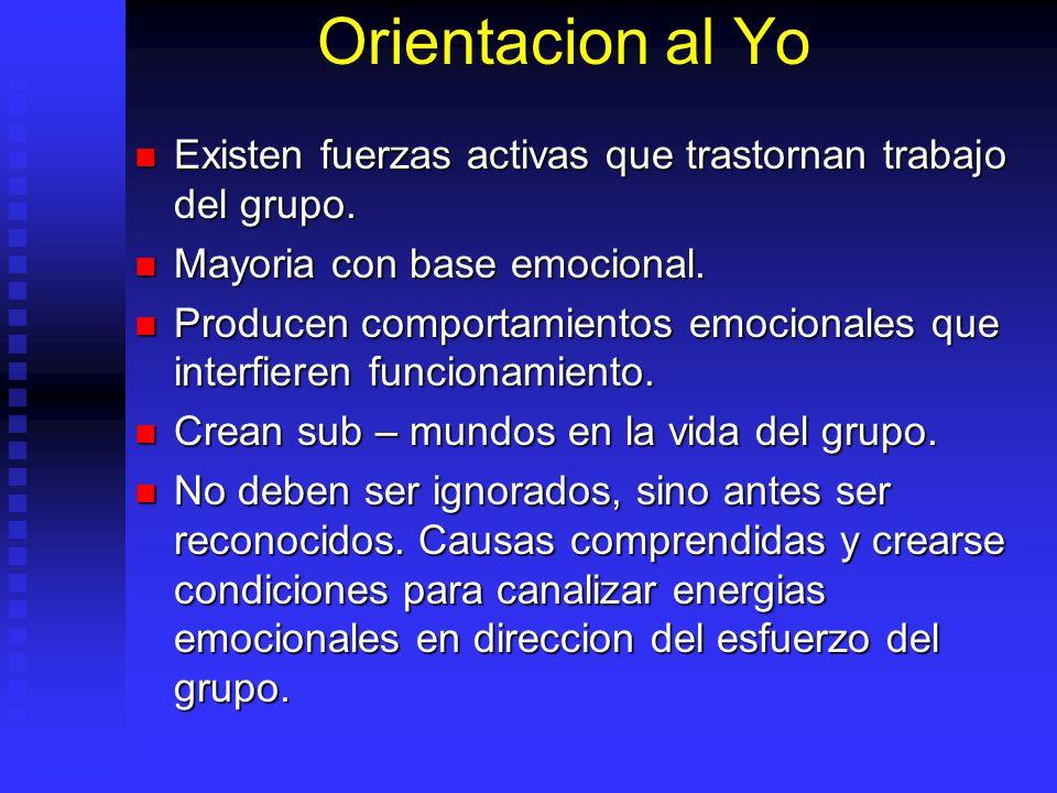 Orientacion al Yo Existen fuerzas activas que trastornan trabajo del grupo. Mayoria con base emocional.