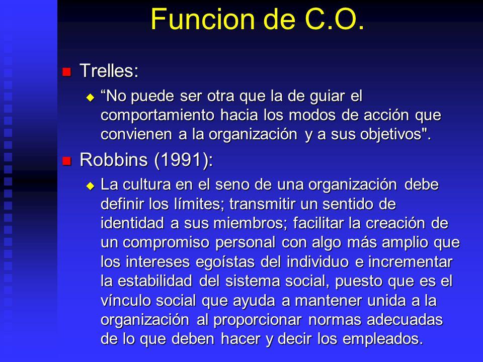 Funcion de C.O. Trelles: Robbins (1991):
