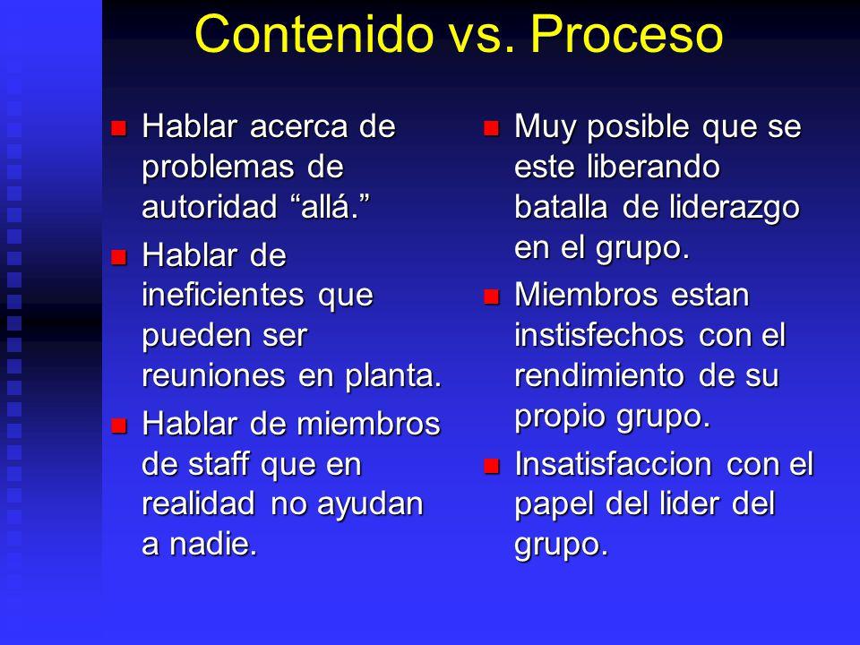 Contenido vs. Proceso Hablar acerca de problemas de autoridad allá.