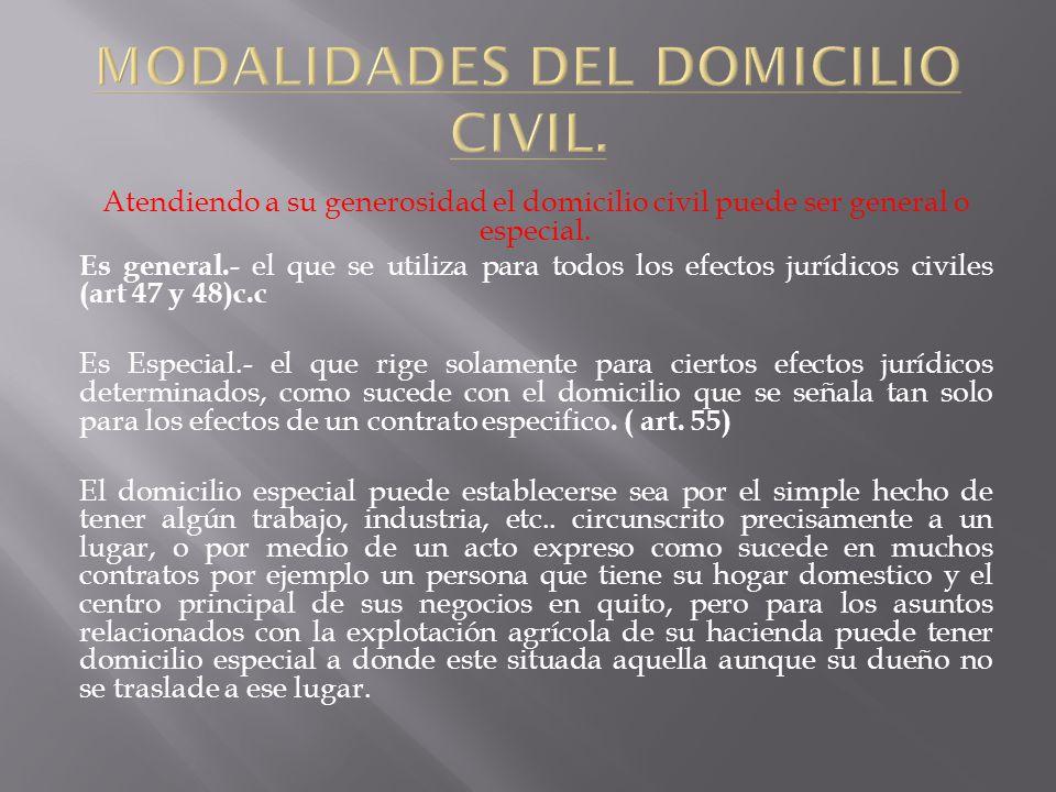 MODALIDADES DEL DOMICILIO CIVIL.