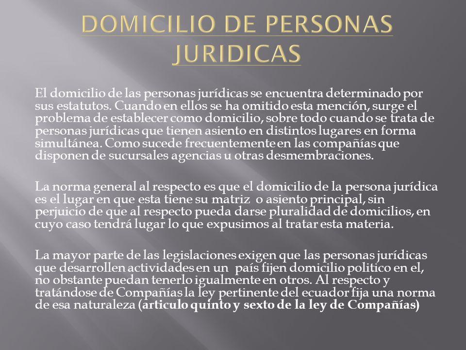 DOMICILIO DE PERSONAS JURIDICAS