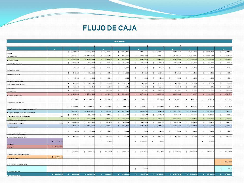 FLUJO DE CAJA FLUJO DE CAJA 1 2 3 4 5 6 7 8 9 10 AÑO Ingresos