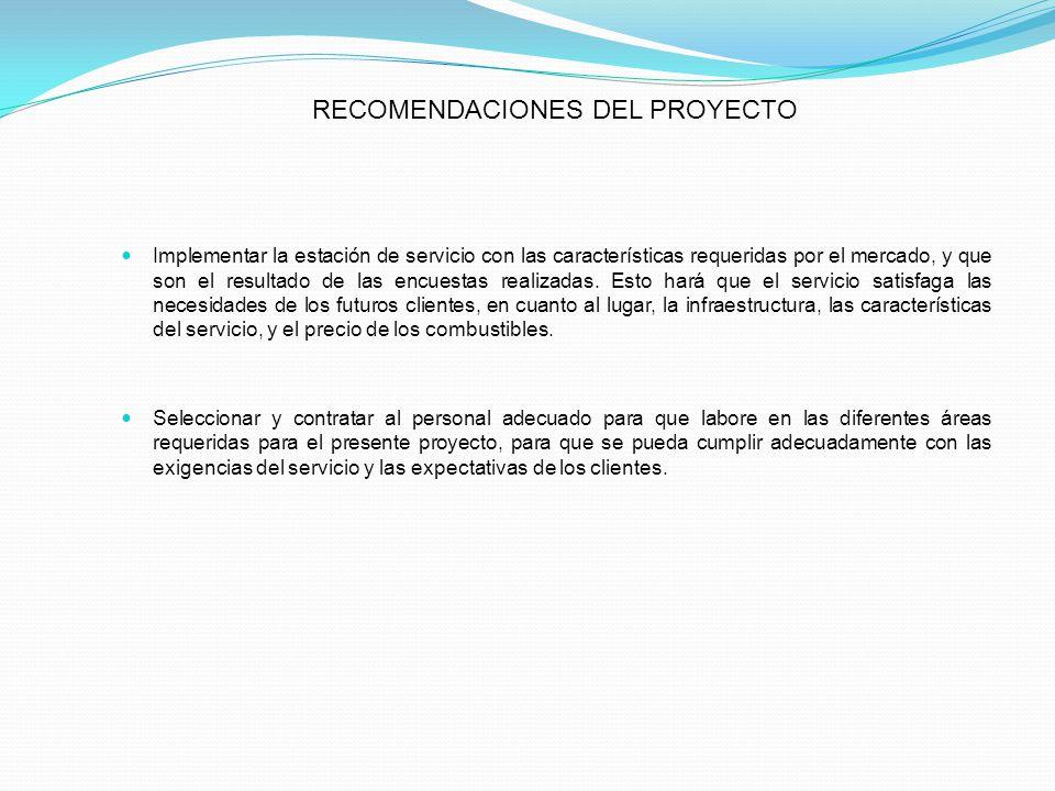 RECOMENDACIONES DEL PROYECTO