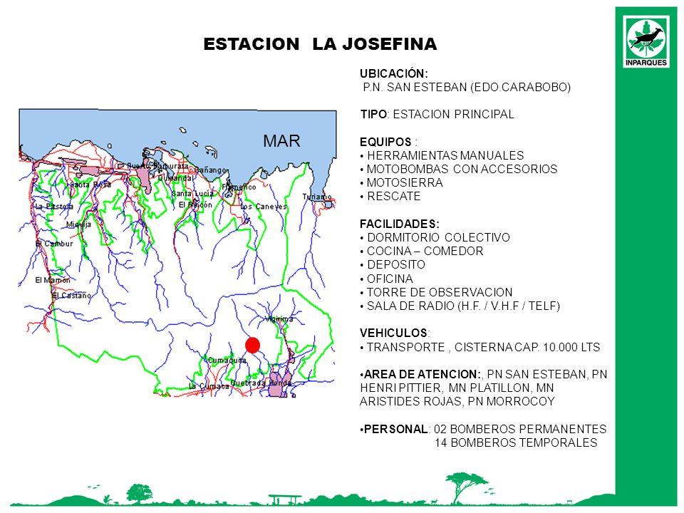 ESTACION LA JOSEFINA MAR UBICACIÓN: P.N. SAN ESTEBAN (EDO.CARABOBO)