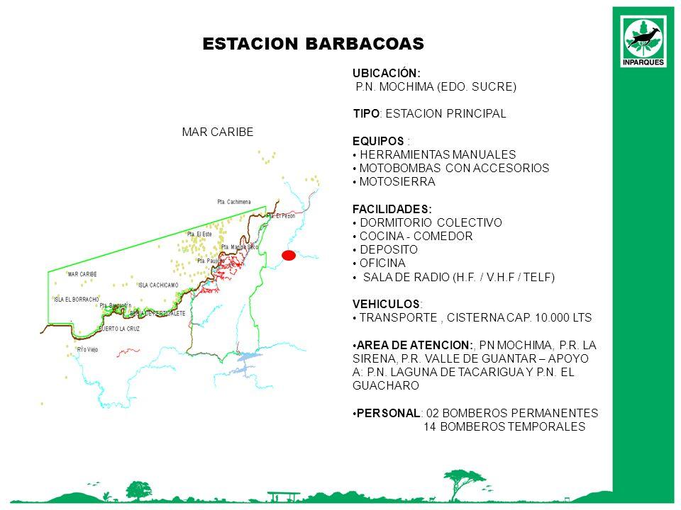 ESTACION BARBACOAS UBICACIÓN: P.N. MOCHIMA (EDO. SUCRE)