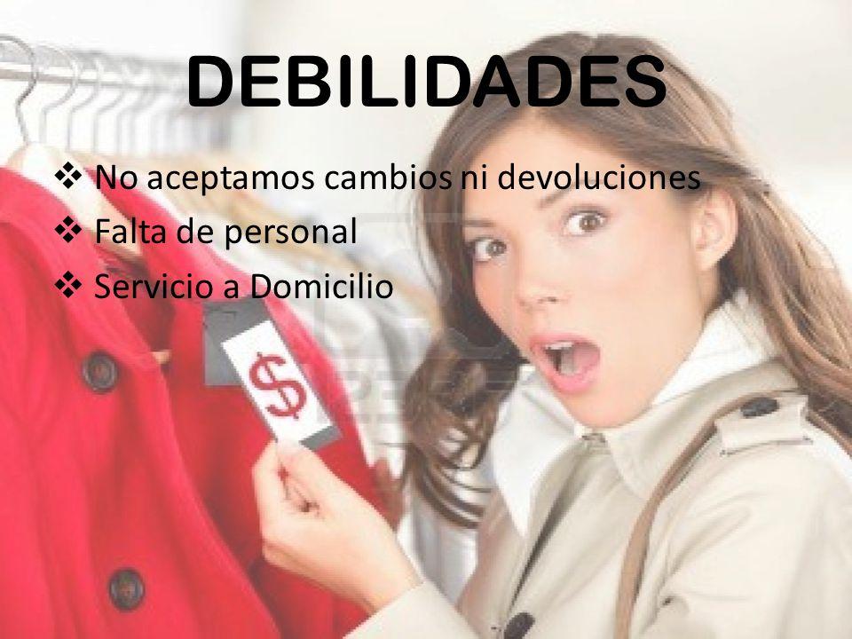 DEBILIDADES No aceptamos cambios ni devoluciones Falta de personal