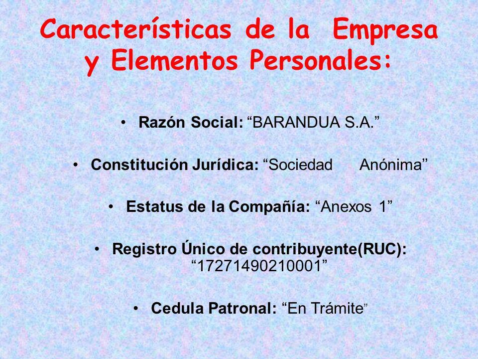 Características de la Empresa y Elementos Personales:
