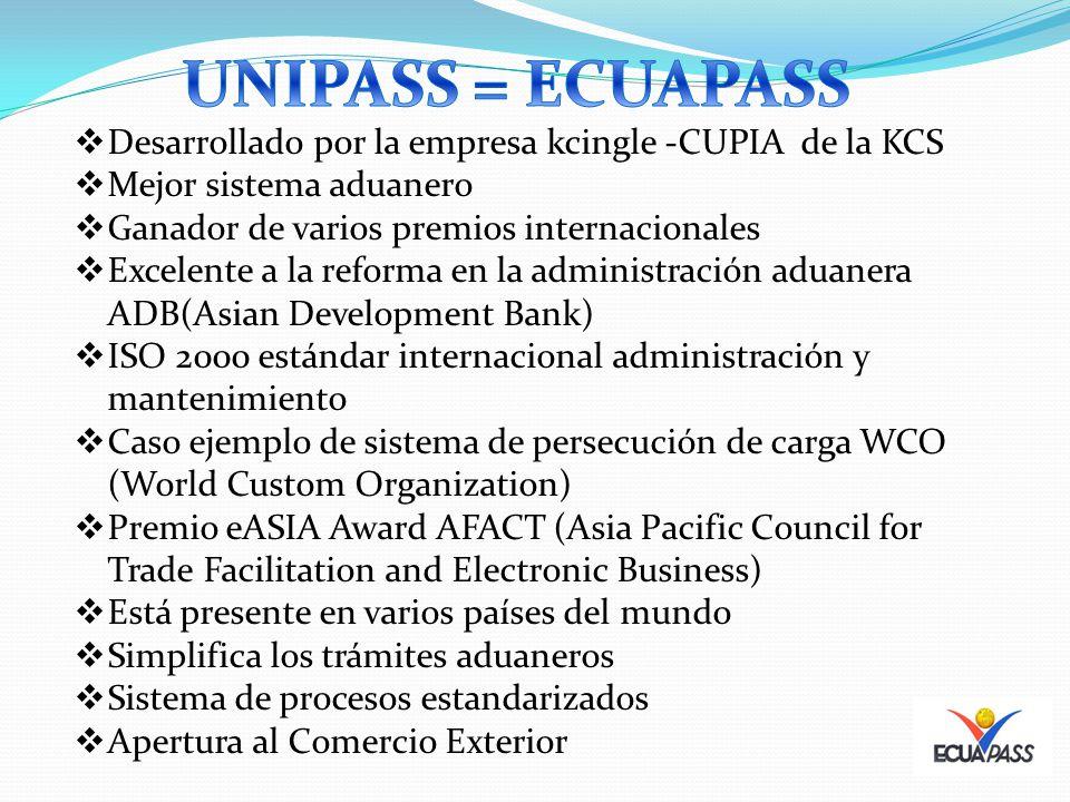 UNIPASS = ECUAPASS Desarrollado por la empresa kcingle -CUPIA de la KCS. Mejor sistema aduanero. Ganador de varios premios internacionales.