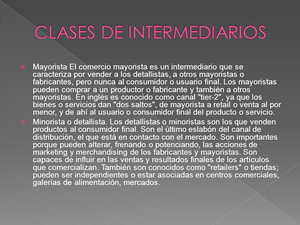 CLASES DE INTERMEDIARIOS