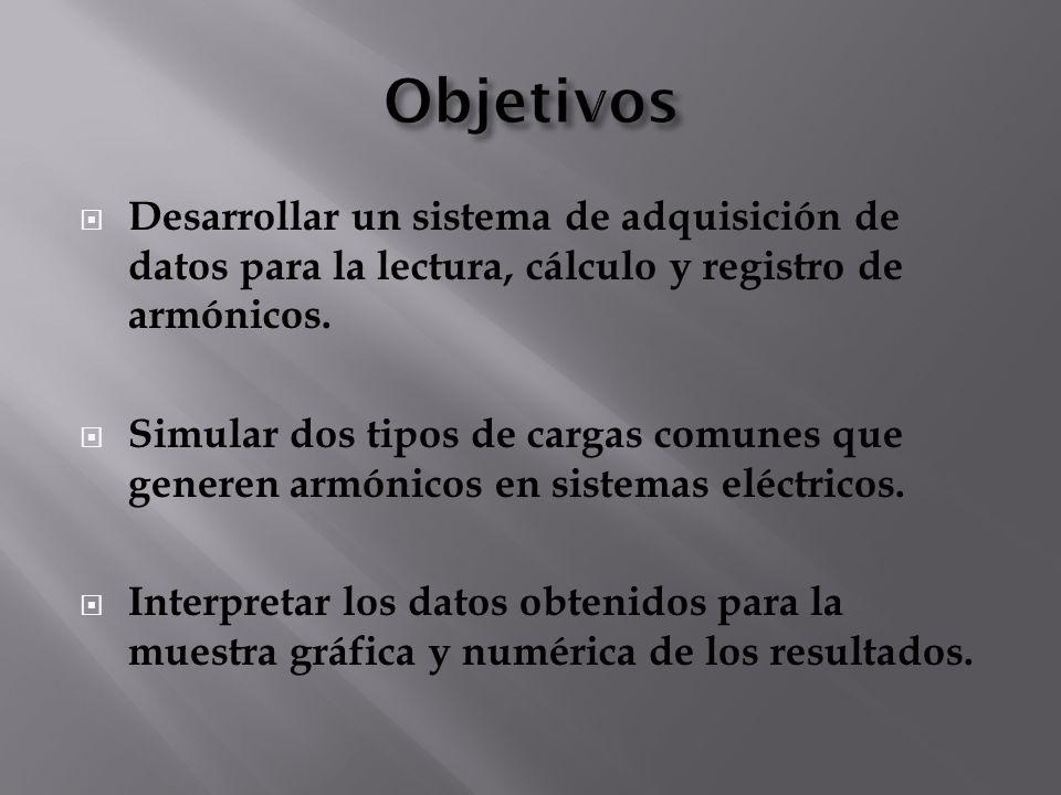 Objetivos Desarrollar un sistema de adquisición de datos para la lectura, cálculo y registro de armónicos.
