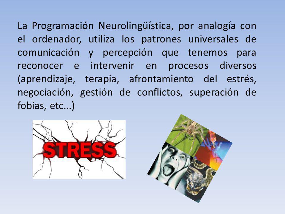 La Programación Neurolingüística, por analogía con el ordenador, utiliza los patrones universales de comunicación y percepción que tenemos para reconocer e intervenir en procesos diversos (aprendizaje, terapia, afrontamiento del estrés, negociación, gestión de conflictos, superación de fobias, etc...)