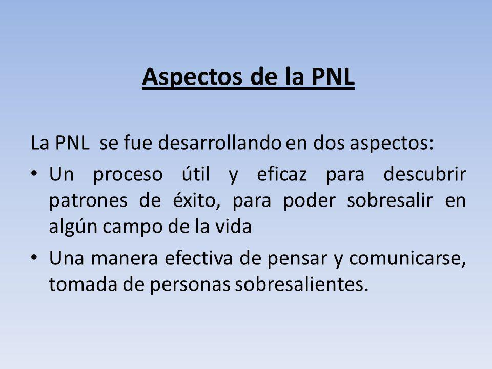 Aspectos de la PNL La PNL se fue desarrollando en dos aspectos: