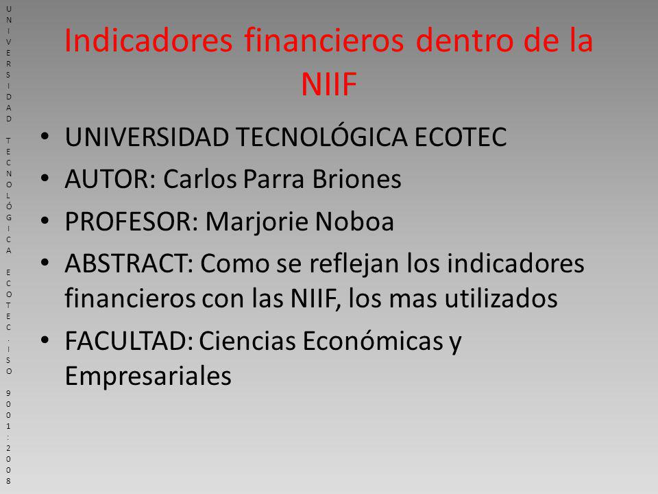 Indicadores financieros dentro de la NIIF