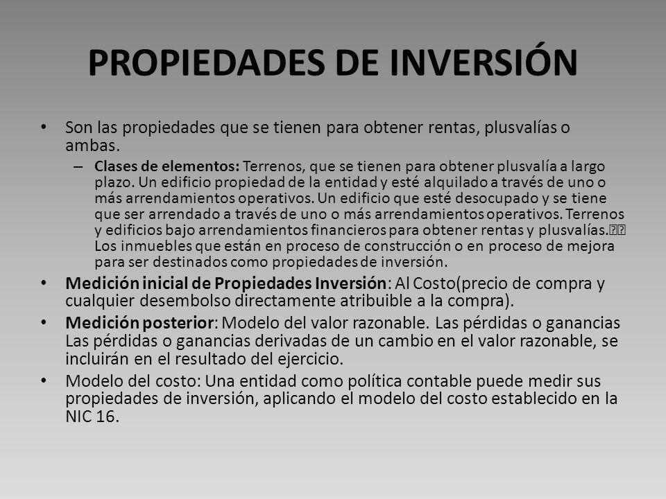 PROPIEDADES DE INVERSIÓN