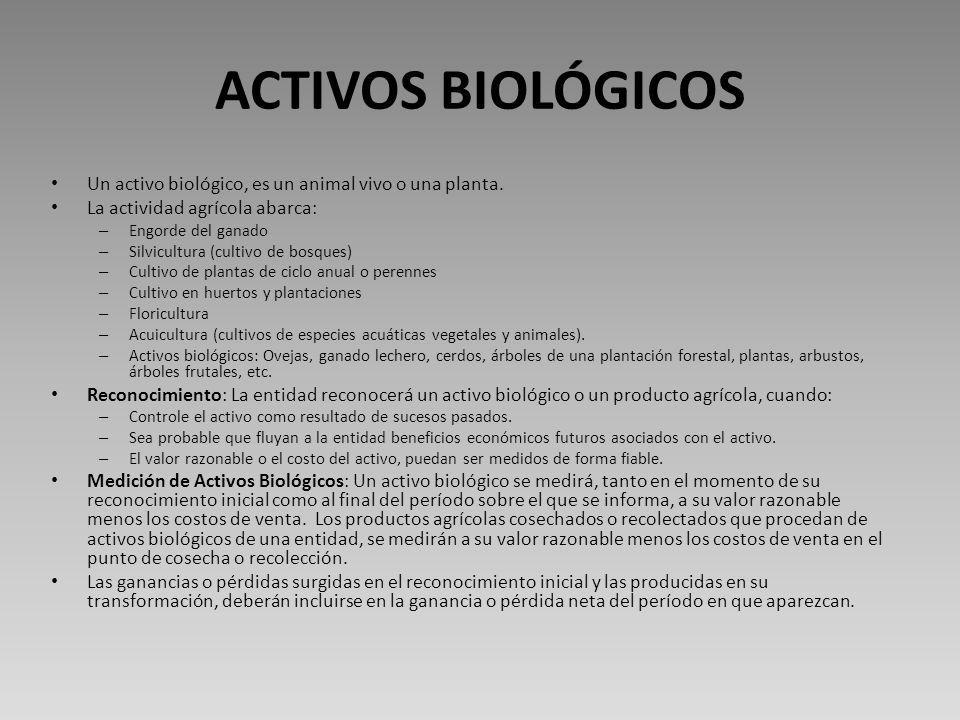 ACTIVOS BIOLÓGICOS Un activo biológico, es un animal vivo o una planta. La actividad agrícola abarca: