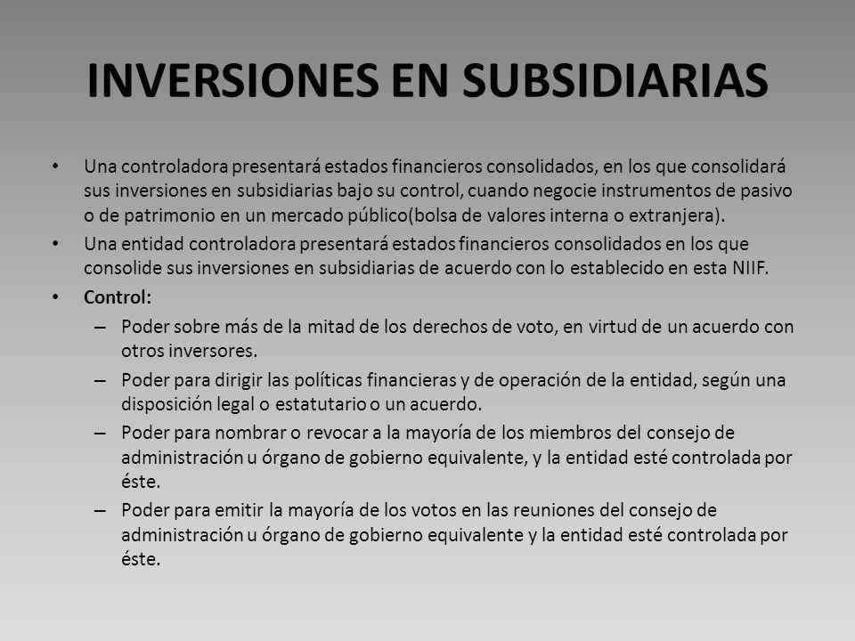 INVERSIONES EN SUBSIDIARIAS