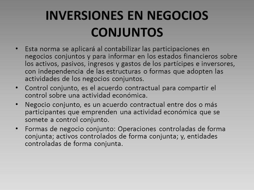 INVERSIONES EN NEGOCIOS CONJUNTOS