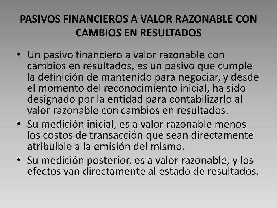 PASIVOS FINANCIEROS A VALOR RAZONABLE CON CAMBIOS EN RESULTADOS