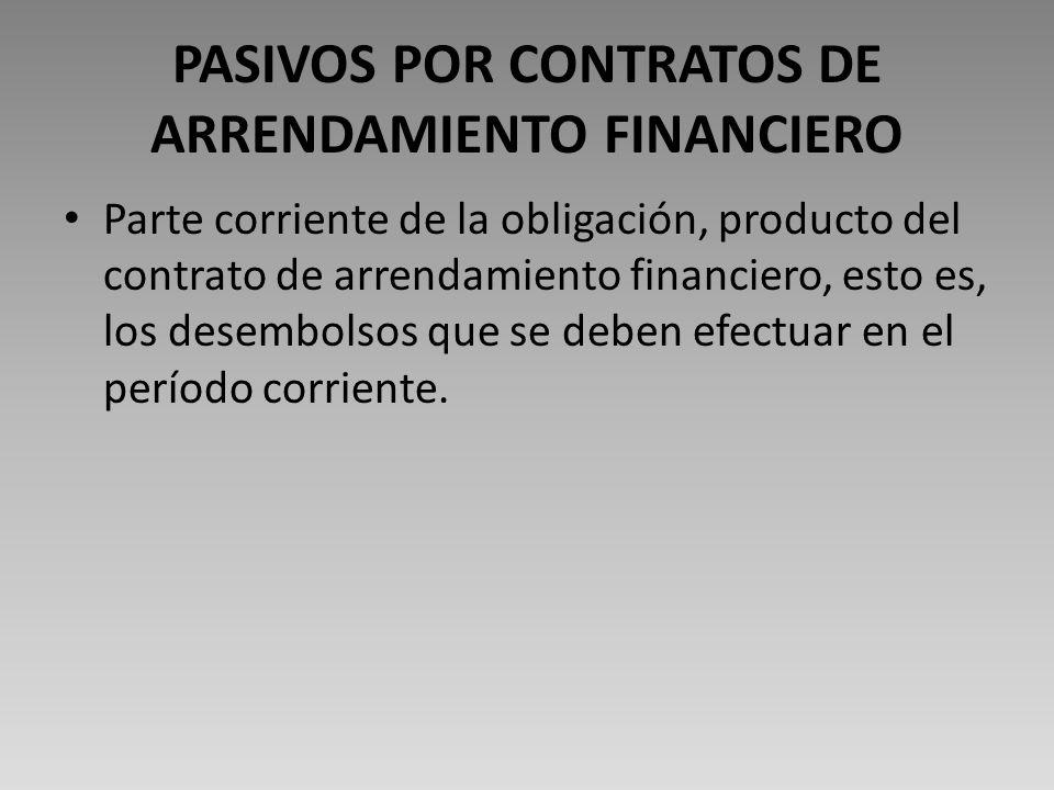 PASIVOS POR CONTRATOS DE ARRENDAMIENTO FINANCIERO